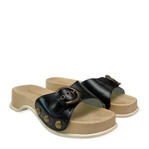 Marc Jacobs Anita Leather Wood Clog Sandals